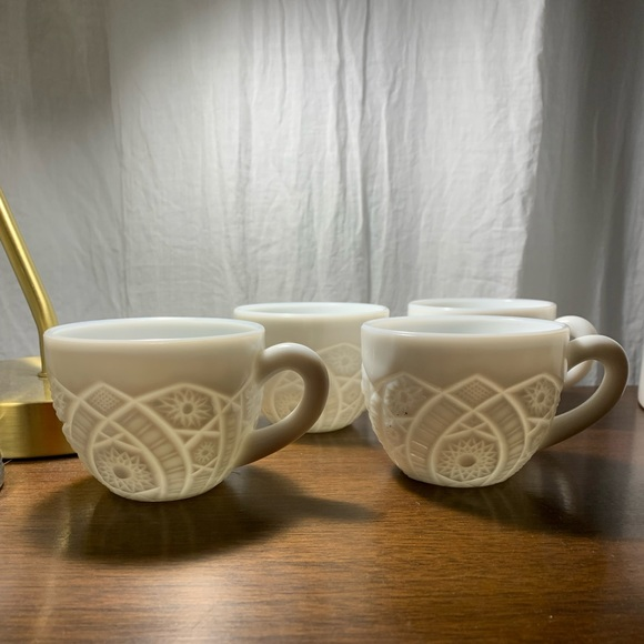 Vintage McKee Concord Milkglass Punch Cups- 4
